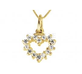 Złota zawieszka w kształcie serduszka z białymi cyrkoniami - prezent na Walentynki!
