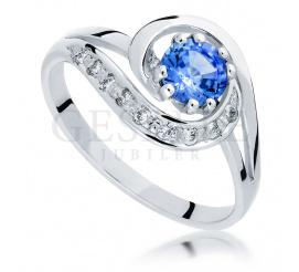 Oryginalny pierścionek zaręczynowy - szafir naturalny i brylanty w oprawie z białego złota