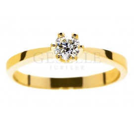 Jedyny taki, złoty pierścionek zaręczynowy z brylantem 0.30 ct