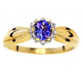 Wyjątkowy, naturalny tanzanit i brylanty o masie 0.06 ct - złoty pierścionek zaręczynowy od GESELLE Jubiler