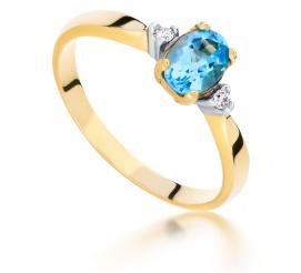 Romantyczny, złoty pierścionek zaręczynowy z topazem blue i brylantami o masie 0.03 ct