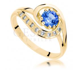 Oryginalny, złoty pierścionek zaręczynowy z brylantami i szafirem naturalnym