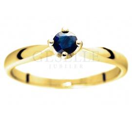Niepowtarzalny, złoty pierścionek zaręczynowy pr. 585 z szafirem