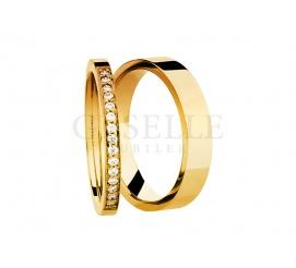 Luksusowe obrączki ślubne z żółtego złota pr. 585 z brylantami 0,15 ct - kolekcja ESSENCE