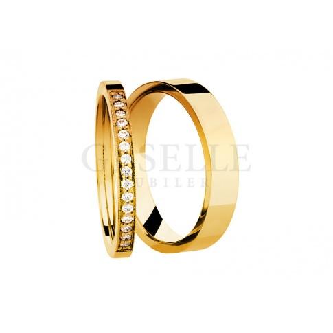 Luksusowe obrączki ślubne z żółtego złota z brylantami 0,15 ct - kolekcja ESSENCE