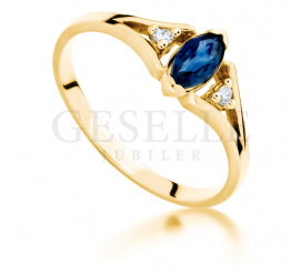 Wyjątkowy, retro pierścionek zaręczynowy ze złota 14K z szafirem i brylantami