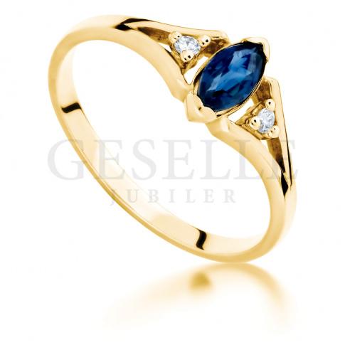 Wyjątkowy, retro pierścionek zaręczynowy ze złota z szafirem i brylantami