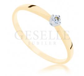 Delikatny pierścionek z żółtego złota z brylantem 0.04 ct idealny na zaręczyny