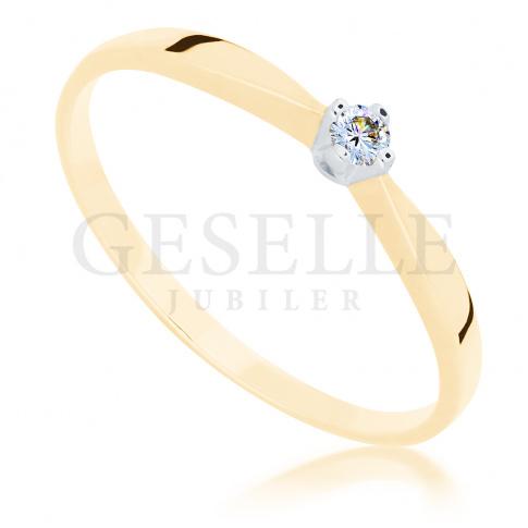 Delikatny pierścionek z żółtego złota z brylantem 0.05 ct idealny na zaręczyny