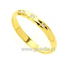Delikatne obrączki ślubne z żółtego kruszcu z trzema cyrkoniami Swarovski ELEMENTS