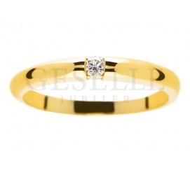 Oryginalny, złoty pierścionek z brylantem 0,05 ct
