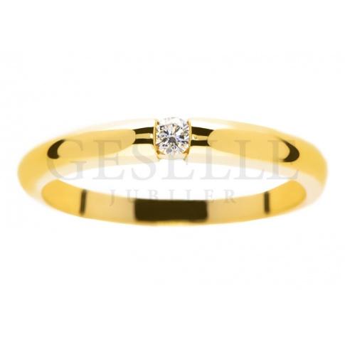 Oryginalny, złoty pierścionek z brylantem 0.05 ct