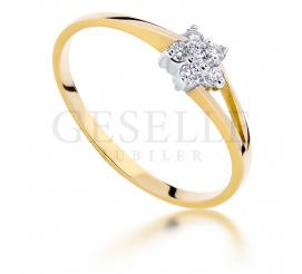 Delikatny pierścionek zaręczynowy z brylantami o masie 0.09 ct - kwiatowy wzór dla ukochanej