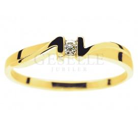 Wyjątkowy pierścionek od GESELLE Jubiler: żółte złoto i brylant o masie 0.04 ct