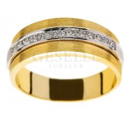Oryginalny pierścionek z żółtego złota: klasyczna obrączka i 14 brylantów 0.01 ct