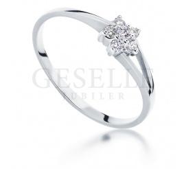Przepiękny pierścionek zaręczynowy z białego złota z 6 brylantami o masie 0,09 karata
