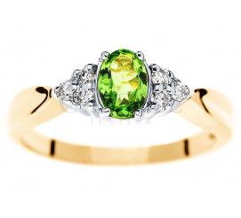 Złoty pierścionek zaręczynowy z tsavoritem i brylantami