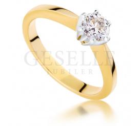 Luksusowy pierścionek zaręczynowy z żółtego, 14-karatowego złota z brylantem o masie 0,50 ct