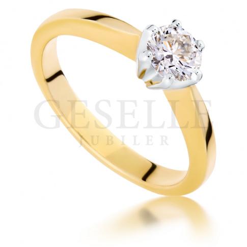 Luksusowy pierścionek zaręczynowy z żółtego, złota z brylantem o masie 0.50 ct