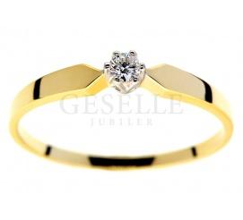 Klasyczny pierścionek z żółtego złota pr. 585 z brylantem o masie 0,06 ct dla Ukochanej