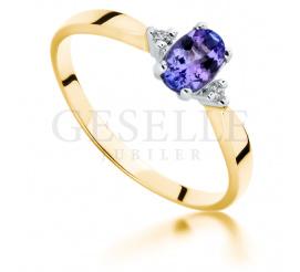 Złoty pierścionek z tanzanitem naturalnym i brylantami o masie 0.03 ct