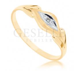 Wyjątkowy podarunek - pierścionek z żółtego złota z brylantem o masie 0.01 ct od GESELLE Jubiler