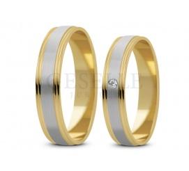 Delikatne obrączki ślubne z kolekcji Stelmach z dwukolorowego złota z cyrkonią lub brylantem