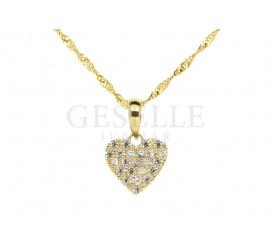 Złota zawieszka w kształcie serduszka wysadzana cyrkoniami