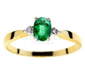 Wyjątkowy pierścionek zaręczynowy, złoty z brylantami i energetycznym, zielonym szmaragdem, żółte złoto 14K 585