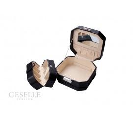 Kwadratowa szkatułka na biżuterię ze skóry ekologicznej z lusterkiem i dodatkowym pudełeczkiem