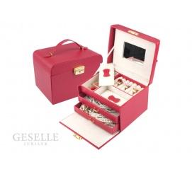 Kobiecy, czerwony kuferek na złotą lub srebrną biżuterię dla kobiety, z uchwytem i lusterkiem