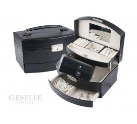 Pojemna szkatułka na biżuterię z czarnej, matowej skóry ekologicznej z szufladką i dodatkowym pudełeczkiem