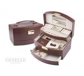 Klasyczny kuferek na biżuterię z brązowej skóry ekologicznej - lusterko, przegródki, zamknięcie na kluczyk