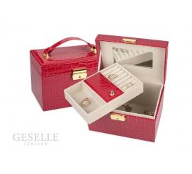 Pojemny kuferek na pierścionki, kolczyki i naszyjniki  z czerwonej skóry ekologicznej zamykany na kluczyk