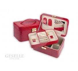 Czerwony kuferek ze skóry ekologicznej z motywem krokodyla z uchwytem na biżuterię