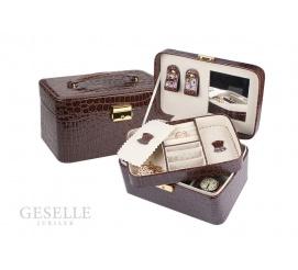 Lakierowany, brązowy kuferek-walizka na biżuterię - idealny pomysł na prezent!