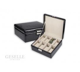 Elegancki kuferek na zegarki i bransoletki z czarnej skóry ekologicznej