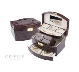 Rozbudowany kuferek ze skóry ekologicznej w kolorze brązowym