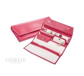 Kobiecy, podróżny portfel na biżuterię w kolorze czerwonym