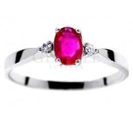 Niespotykany pierścionek zaręczynowy - białe złoto z czerwonym rubinem i brylantami