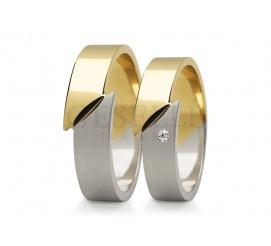 Oryginalna para obrączek ślubnych z białego i żółtego złota 14K z ozdobnym połączeniem i pięknym kamieniem - cyrkonią lub brylantem