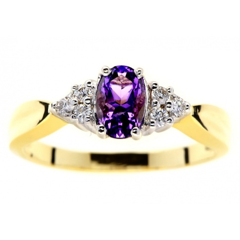 Wyjątkowy, złoty pierścionek z pięknym, fioletowym ametystem i brylantami - idealny na oświadczyny
