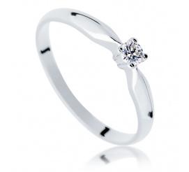 Uroczy pierścionek z brylantem 0.08 ct idealny na oświadczyny