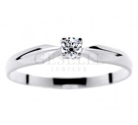 Uroczy pierścionek z brylantem 0,08 ct idealny na oświadczyny