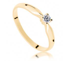Najmodniejszy pierścionek zaręczynowy: ponadczasowy brylant 0.08 ct w żółtym złocie