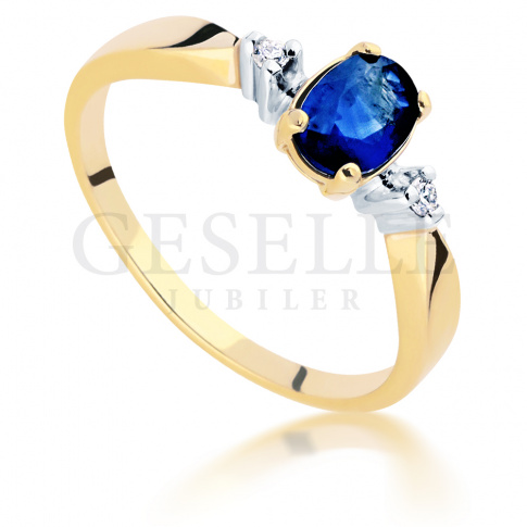 Złoty 14-karatowy pierścionek z szafirem naturalnym i brylantami o masie 0.03 ct