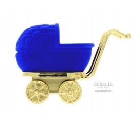 Niebieskie pudełko w kształcie wózka - wyjątkowe opakowanie na pierścionek, kolczyki lub zawieszkę idealne na prezent