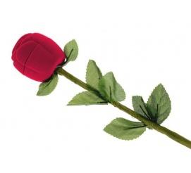 Ozdobne, welurowe pudełeczko na pierścionek zaręczynowy - piękna, czerwona róża dla Ukochanej