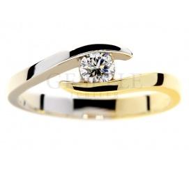 Niebanalne zaręczyny - pierścionek z żółtego i białego złota z brylantem 0.19 ct