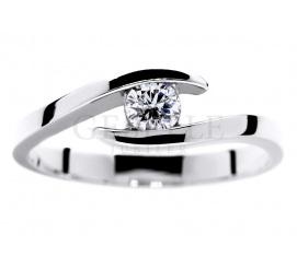 Nowoczesny pierścionek na oświadczyny: białe złoto 14K i diament o masie 0.19 ct